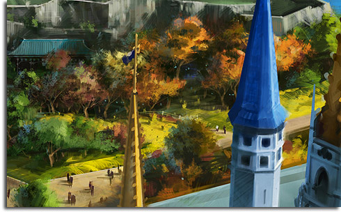 Closeup of the new Winnie-the-Pooh forest from the Fantasyland expansion rendering