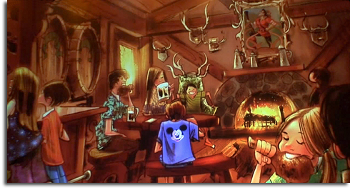 Rendering of the interior of Gaston's Tavern