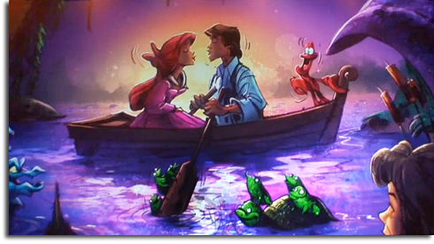 "Rendering of ""Kiss the Girl"" scene from The Little Mermaid: Ariel's Adventure"
