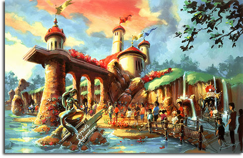Rendering of the new Little Mermaid attraction, Ariel's Adventure, in Walt Disney World's Fantasyland expansion