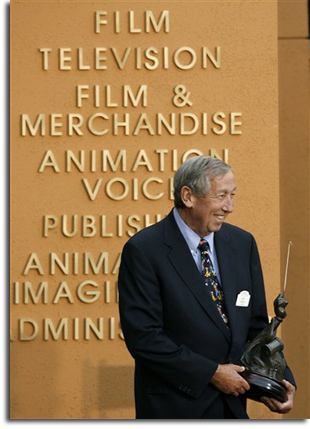 Roy E. Disney receives his Disney Legends award, 1998
