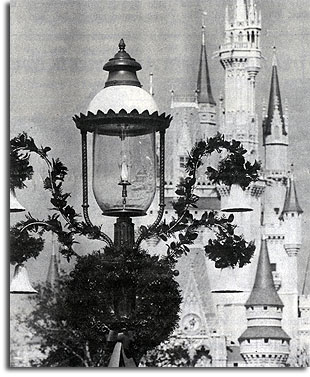 Christmas wreath in the Magic Kingdom, 1971