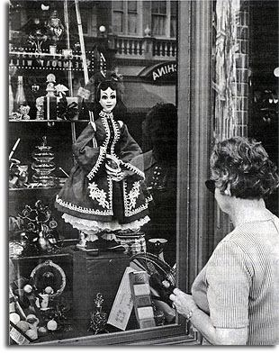 Shop window on Main Street in the Magic Kingdom, 1971