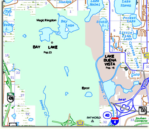 Image of Walt Disney World from Florida DOT Highway Map