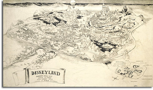 Herb Ryman's sketch of Disneyland, 1953