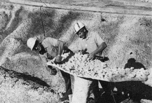 "After the rock walls are formed, then come ""coral"" formations and other aquatic life.  Pictured here are George Lake (l) and Roy Hough (r) cleaning up a coral head just prior to painting."