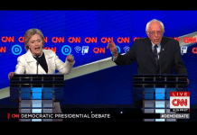 Hillary Clinton and Bernie Sanders face off in the Democratic Debate