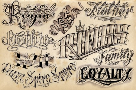 tattoo lettering old school