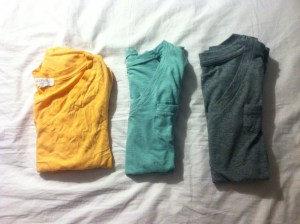 Orange tee-$1.80, Forever21. Mint and gray tee-$4.50, Target.