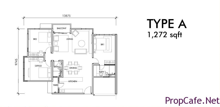 Type A : 1272sf 2Bedroom + 1 Office +2Bath