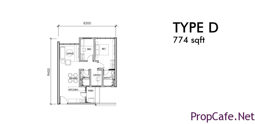 Type D: 774sf 2Bedroom + 1 Office + 2Bath
