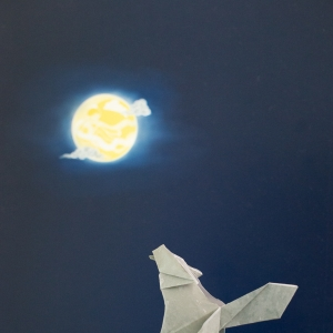 Origami wolf and moon