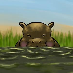 Hippo children's illustration