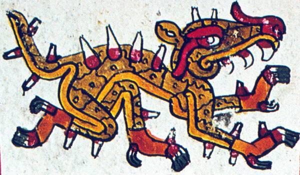 Cipactli, il Grande-Demone-Marino-Rospo-Coccodrillo-Con-Bocche-Su-Ogni-Articolazione-E-Denti-Su-Tutto-Il-Corpo