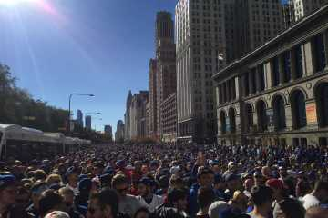 A CENTURY IN THE MAKING: City officials estimated that Friday's parade celebrating the Cubs' first World Series championship since 1908 drew around five million fans. Here was my view looking south on Michigan Avenue around 11 a.m., an hour before the parade would pass us on Randolph Street to the north.