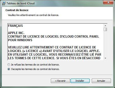 Capture d'écran - Installation de iCloud pour PC, étape n°2