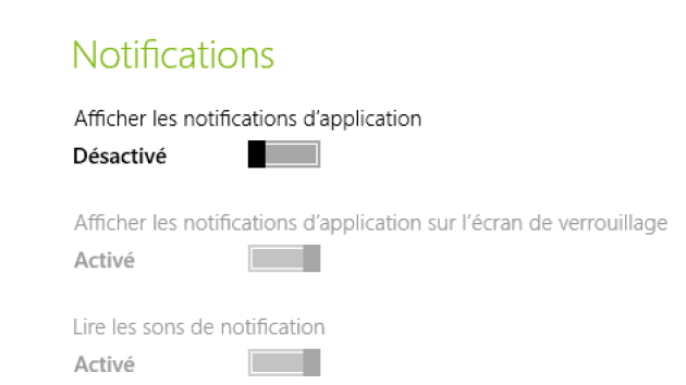 Désactiver les notifications système de Windows 8