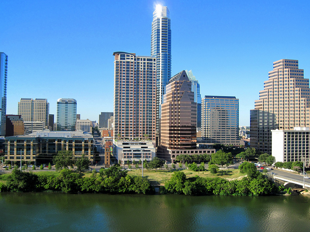 Austin Texas best city job seekers Lake Front Skyline skyscrapers buildings city