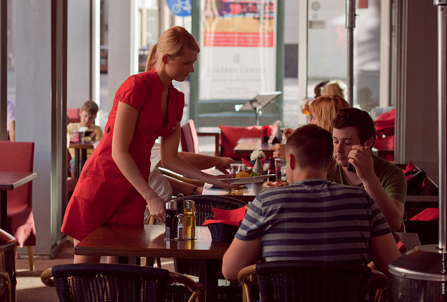 waitress waiter restaurant worker red dress proven linkedin service workers