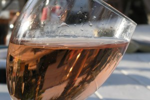 Glass of house pink Nikki Beach St Tropez