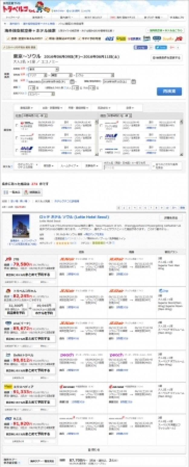海外航空券+ホテル 検索結果一覧ページ一例