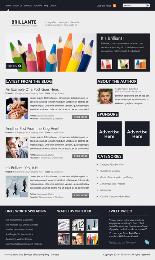 Design The Brilliante Website Layout in Photoshop