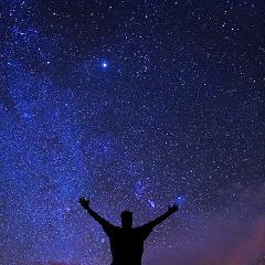 man and stars square