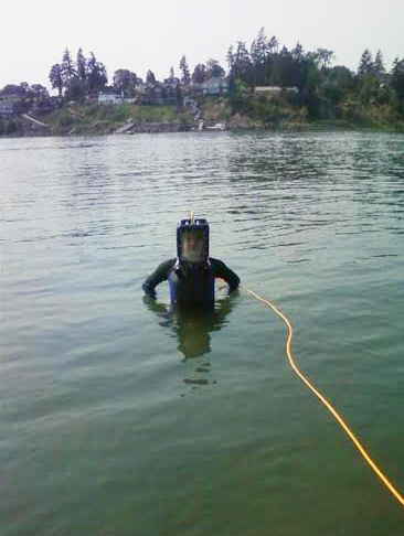 Alex diving in the lake