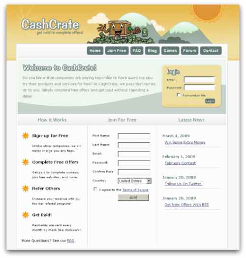 The friendly CashCrate Homepage