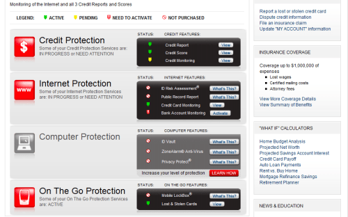 Identity Guard Protection Services Screen