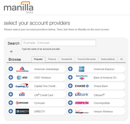 Manilla Account Providers