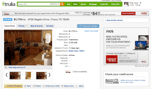 Trulia Rental Property Listing