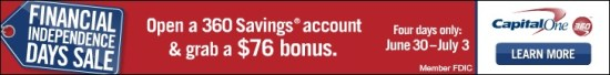 Cap One 360 Savings BONUS