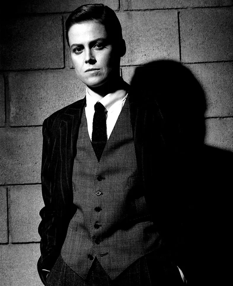 Sigourney Weaver in a suit.