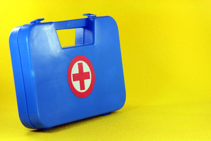 blue first aid box