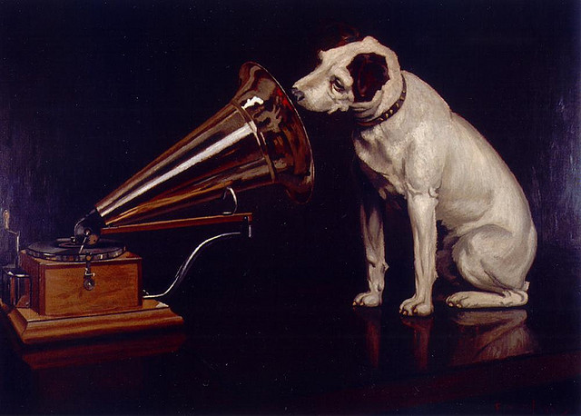 """Dog Looking at and Listening to a Phonograph, """"His Master's Voice"""", The Original RCA Music Puppy Dog Logo Symbol for Advertising"""