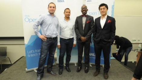 (l-r) LendingFront CEO and co-founder Jorge Sun, LendingFront CTO and co-founder Dario Vergara, ModernLend co-founder Kobina Ansah, ModernLend co-founder Shuo Zhang (PRNewsFoto/BBVA Compass)