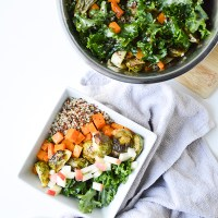 Roasted Fall Veggie, Kale & Quinoa Bowl with a Maple Vinaigrette