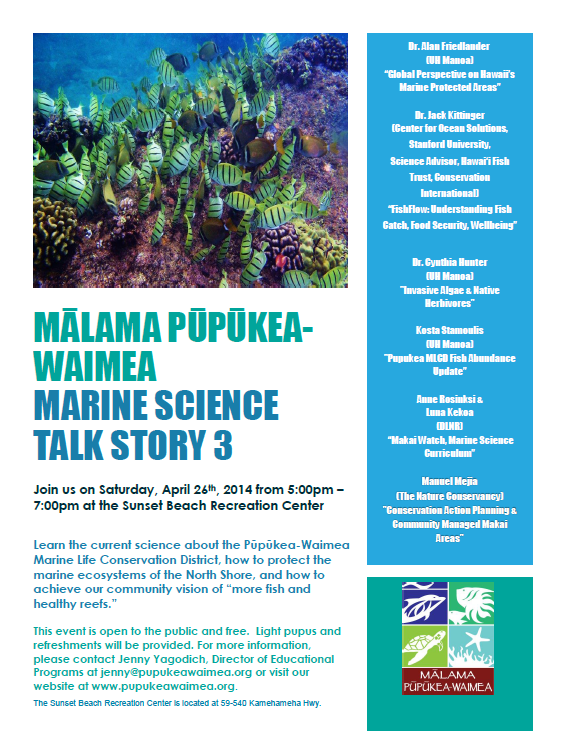 Marine Science Talk Story 3 - April 26 2014