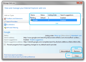 How to remove a search provider on Internet Explorer 8