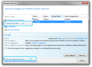 Add-Ons settings window on Internet Explorer 8