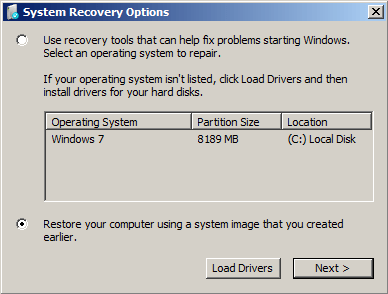Restore your computer using a system image that you created earlier. option.