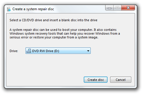 Create a system repair disc window