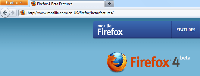 Firefox 4 Beta 9 - Tabs in the tittle bar