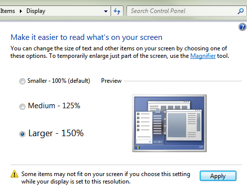 Windows 7 - Display Options (DPI)