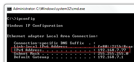 Windows - Command Prompt (CMD) ipconfig