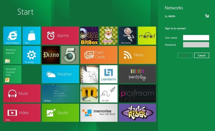 Start screen with network settings pane