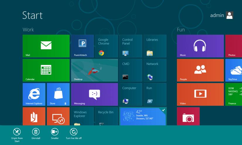 App Bar Windows 8 Start Screen
