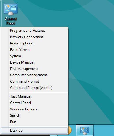 Contextual Menu Windows 8 - Start menu