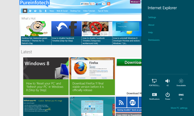 Internet Explorer 10 - Settings - Windows 8